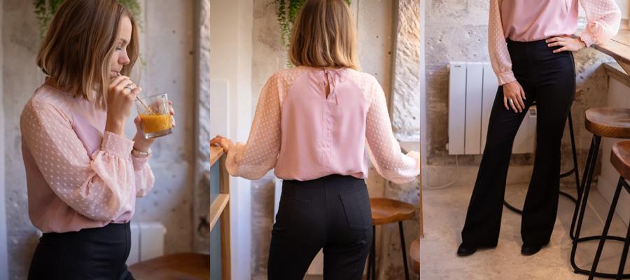 blouse rose et pantalon noir