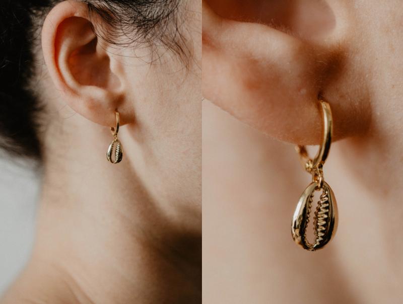 Boucles d'oreilles coquillage cauri