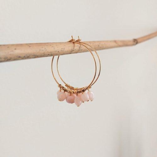 Créoles opales roses et pampilles